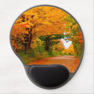 Autumn landscape of trees  in rural areas gel mouse pad