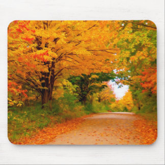 Autumn landscape of trees in rural areas mousepads