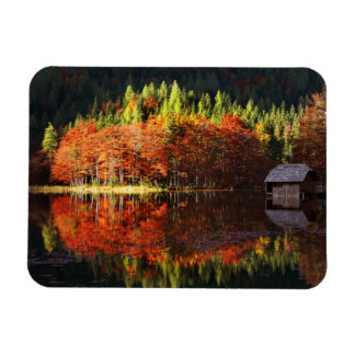 Autumn landscape on a lake rectangular photo magnet