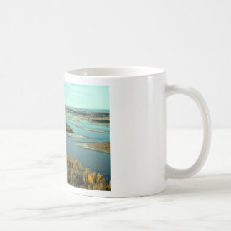 AUTUMN LANDSCAPE ON THE RIVER SURROUNDED BY TREES CLASSIC WHITE COFFEE MUG