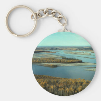 AUTUMN LANDSCAPE ON THE RIVER SURROUNDED BY TREES KEYCHAIN