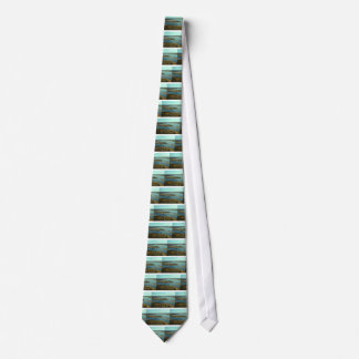 AUTUMN LANDSCAPE ON THE RIVER SURROUNDED BY TREES NECK TIE