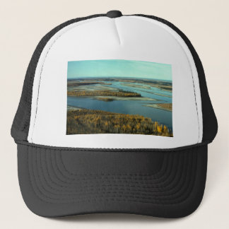 AUTUMN LANDSCAPE ON THE RIVER SURROUNDED BY TREES TRUCKER HAT