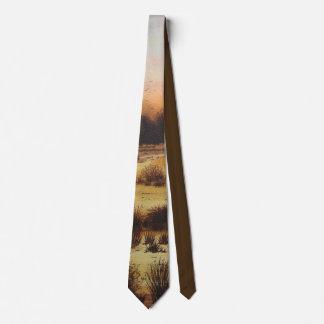 autumn landscape painting original art design tie