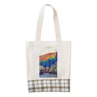 Autumn landscape painting zazzle HEART tote bag