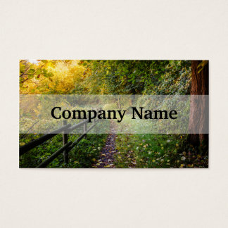 Autumn Landscape, Pathway In A Forest Business Card