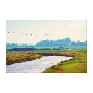 Autumn Landscape RK Havelland with flock OF birds Canvas Print