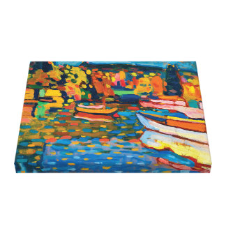 Autumn Landscape with Boats by Wassily Kandinsky Canvas Print