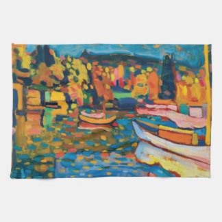 Autumn Landscape with Boats by Wassily Kandinsky. Kitchen Towel