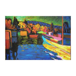 Autumn Landscape With Boats Canvas Print