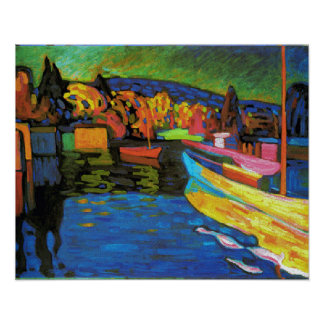 Autumn Landscape With Boats Poster