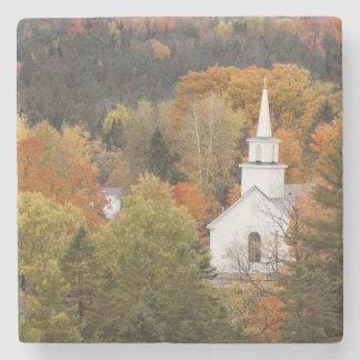 Autumn landscape with church, Vermont, USA Stone Coaster