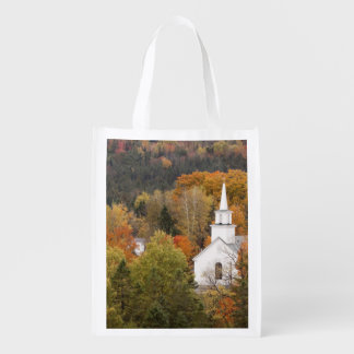 Autumn landscape with church, Vermont, USA Grocery Bag