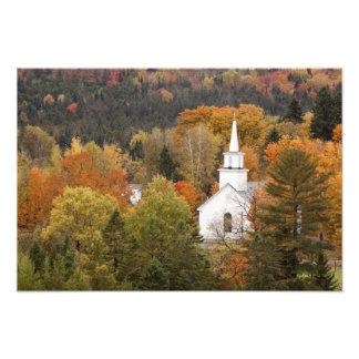 Autumn landscape with church, Vermont, USA Photo Print