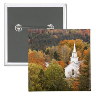 Autumn landscape with church, Vermont, USA Pinback Button