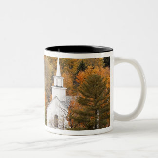 Autumn landscape with church, Vermont, USA Two-Tone Coffee Mug