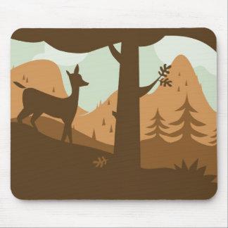 Autumn Landscape with Deer Mouse Pad