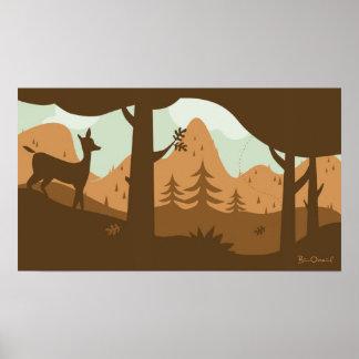 Autumn Landscape with Deer Poster