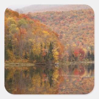 Autumn landscape with lake, Vermont, USA 2 Square Sticker