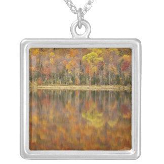 Autumn landscape with lake, Vermont, USA Square Pendant Necklace