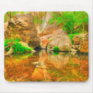 Autumn landscape with trees and river mouse pad