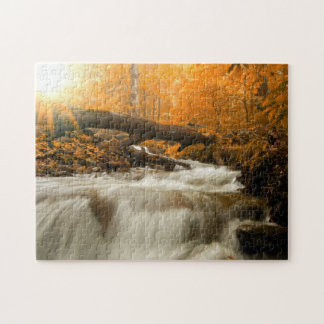 Autumn landscape with trees, river and sun puzzles