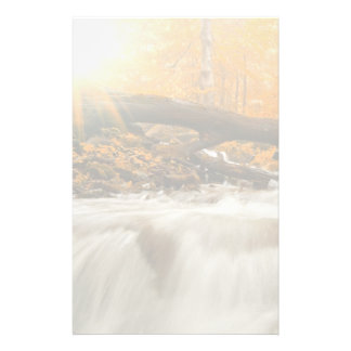 Autumn landscape with trees, river and sun stationery