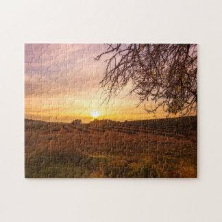Autumn lavender field on sunset puzzle