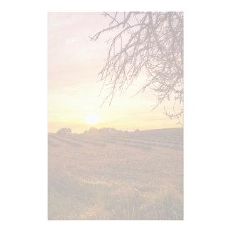 Autumn lavender field on sunset stationery