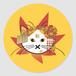 Autumn-leaf cat stickers
