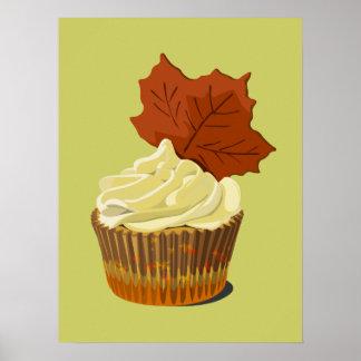 Autumn leaf cupcake poster