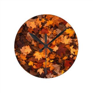 Autumn Leaf Fall Foliage Round Clock