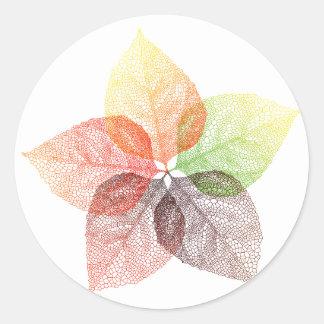 Autumn leaf flower classic round sticker