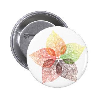 Autumn leaf flower pinback buttons