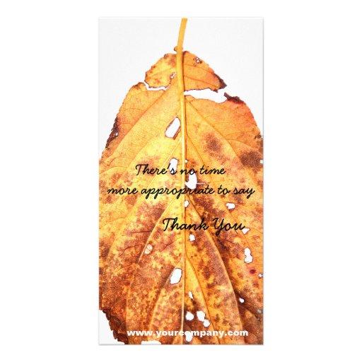Autumn Leaf Giving Thanks Customized Photo Card