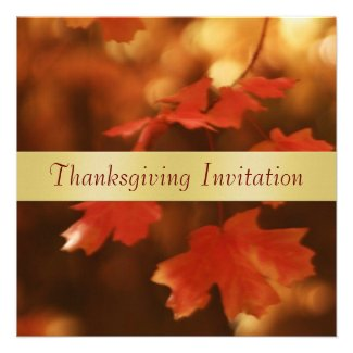 Autumn Leaf Gold Ribbon Thanksgiving Invitation
