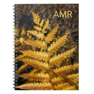 Autumn Leaf Golden Fern Photo with Monogram Notebook