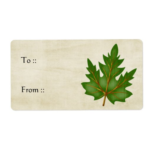 Autumn Leaf Green 3 Color Gift Tag Labels