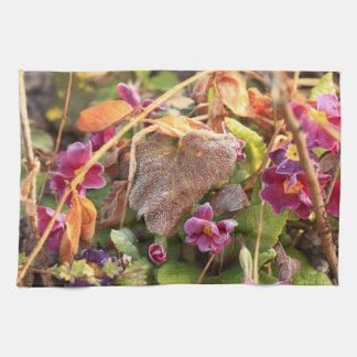 autumn leaf in early spring towel
