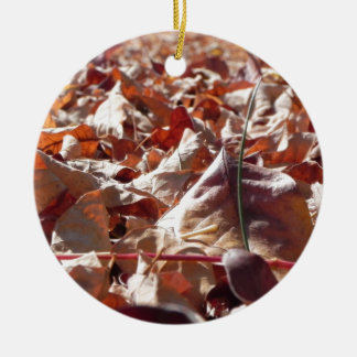 Autumn leaf in the fall ceramic ornament