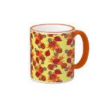 Autumn Leaf Mushroom Pattern Ringer Coffee Mug