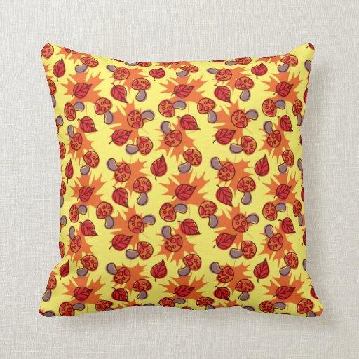 Autumn Leaf Mushroom Pattern Throw Pillows