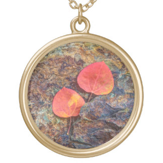 Autumn leaf on rock, California Gold Plated Necklace