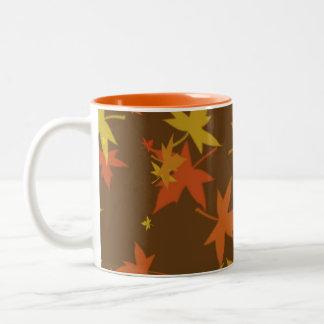 Autumn leaf pattern coffee mug