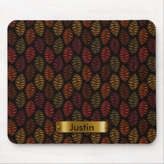 Autumn Leaf Pattern with DIY Text Mouse Pad