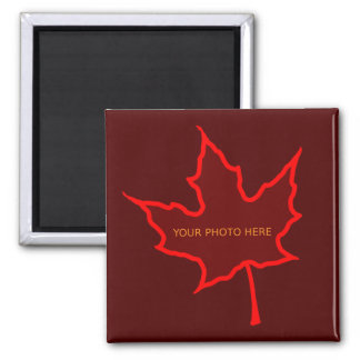 Autumn Leaf Photo Template 2 Inch Square Magnet