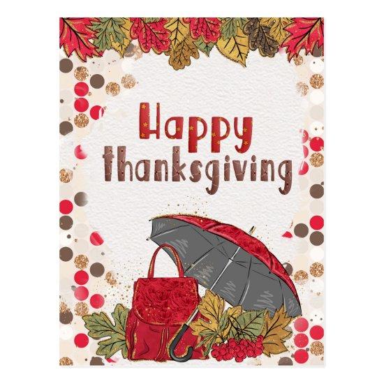 Autumn Leaf Polka Dot Happy Thanksgiving Postcard