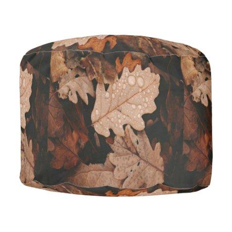 Autumn Leaf Pouf Footstool Ottoman
