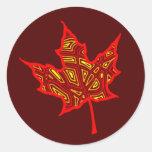 Autumn Leaf Round Stickers