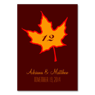 Autumn Leaf Table Number